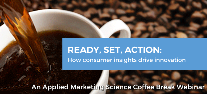 "Coffee mug featuring the banner, ""Ready, Set, Action: How Customer Insights Drive Innovation"""