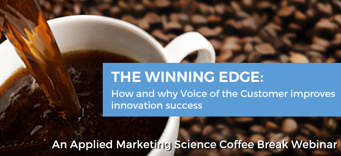 "Coffee mug featuring the banner, ""The Winning Edge: How and why Voice of the Customer improves innovation success"""